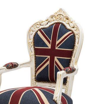 Poltrona Luigi XVI color crema con tessuto bandiera inglese