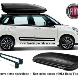 BOX BAULE PORTATUTTO 400 LT.NERO + Kit 2 Barre Tetto Specifico per Fiat 500 L + Living + Trekking.