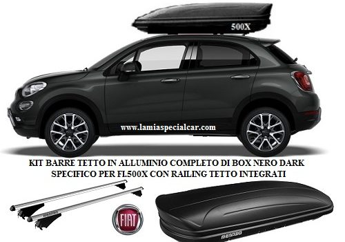 BOX BAULE PORTATUTTO 400 LT.NERO + Kit 2 Barre Tetto Specifico per Fiat 500X con Railing tetto integrati.